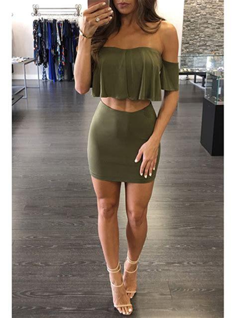 Back Set Topskirt Size Ml wmns 2 dress strapless crop top mini skirt set army green