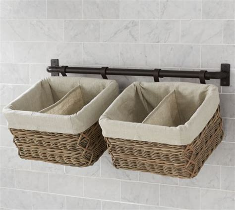 how to hang a basket wall 15 min decor day 10 making build your own hannah basket wall system pottery barn