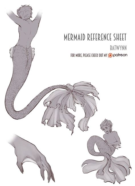 Inspect Sketches B And D by Mermaid Reference Sheet Sketched To