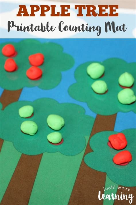 printable apple playdough mats preschool playdough mats apple tree counting mat trees