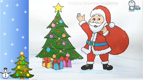 pictures of crismas tree and centaclaus how to draw santa claus with tree step by step