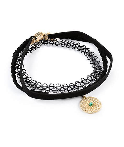 Exclusive Color Of Tatto Choker locket velvet multipack choker necklaces