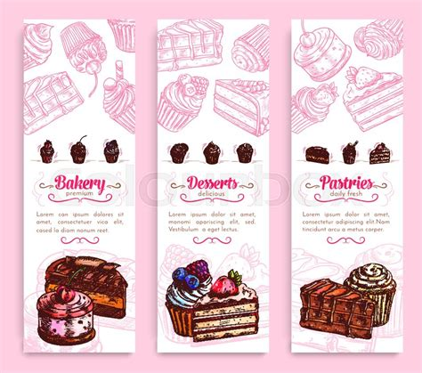 design banner bakery bakery and pastry shop desserts banner set cake cupcake