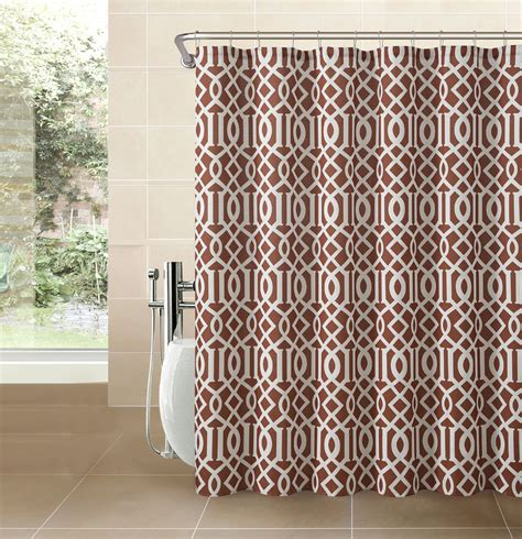 trellis print curtains cinnamon rust fabric shower curtain white imperial