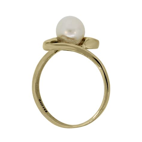 14k yellow gold 6mm pearl solitaire ring boca raton