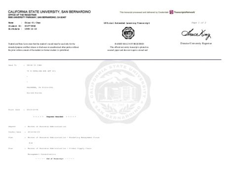 Csusb Mba Marketing by Official Transcript
