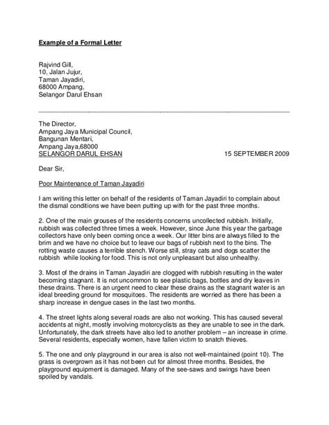 Sle Complaint Letter To Council About Rubbish exle of a formal letter to the council compudocs with