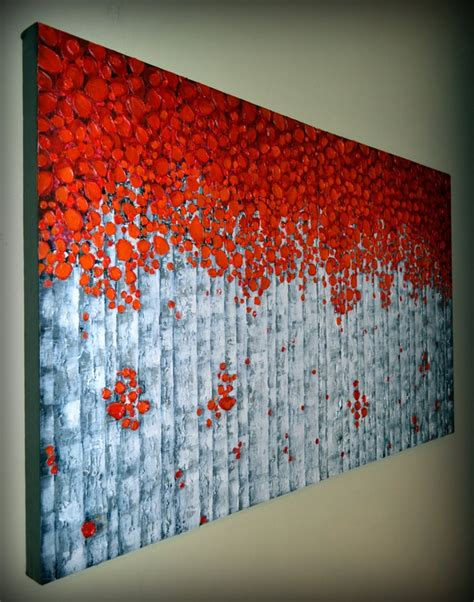 modern home decor abstract tree painting birch trees abstract red birch tree painting original modern fine art