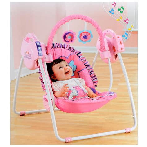 fisher price swing pink fisher price pink petals take along singing swing new