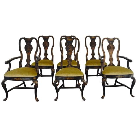 Black Dining Chairs Set Of 6 Set Of Six Black Chinioserie Dining Chairs For Sale At 1stdibs