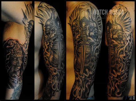monster tattoos warrior tattoos black and grey portrait