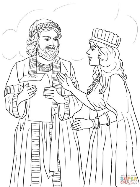 esther coloring pages esther and mordecai with king s edict coloring