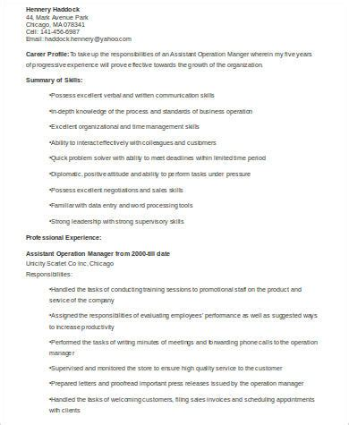 resume format for assistant manager operations 8 sle assistant manager resumes sle templates