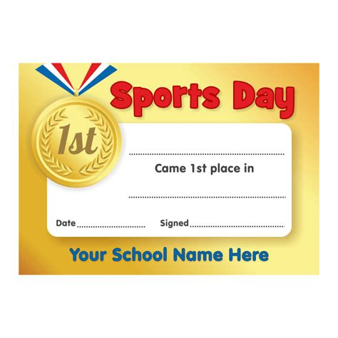sports day certificate template sports day gold 1st place certificates school stickers