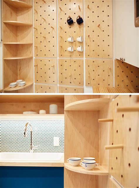 small kitchen features  pegboard wall  open