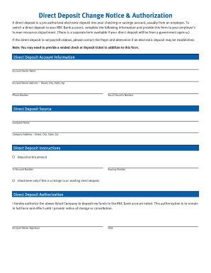 Direct Deposit Authorization Form Bank Of America Templates Fillable Printable Sles For Pre Authorized Payment Form Template Rbc