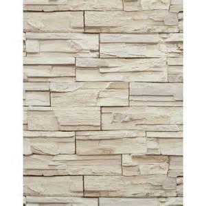 Stacked Stone Brick Wallpaper Tan Beige Heavy Duty Textured RN1039