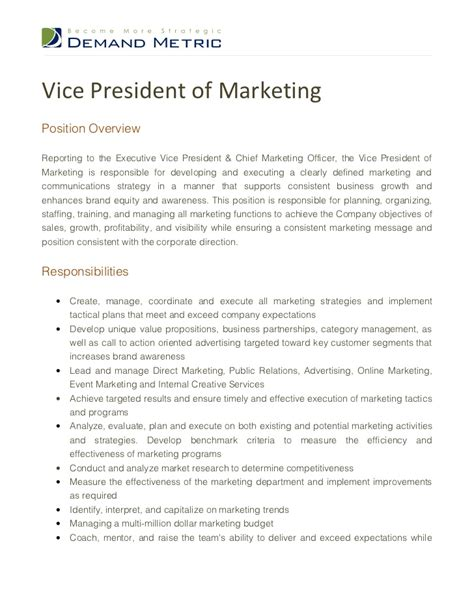 vice president of marketing description