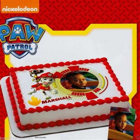 paw patrol cake decorations paw patrol marshall add your picture edible image frosting