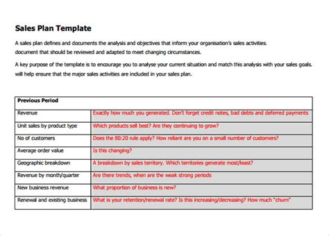 sales plan format sle sales plan template 17 free documents in pdf
