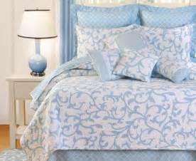 White matelasse background makes the serendipity blue bedding