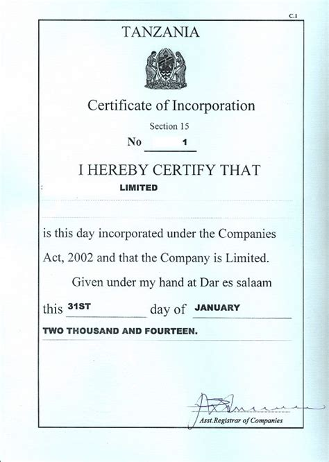 certificate of incorporation template sle certificate incorporation images certificate