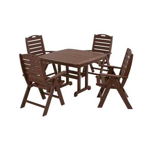 Polywood Traditional Garden White 5 Piece Patio Dining Set Patio Dining Sets Home Depot