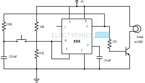 Lu Led Flip Flop bistable multivibrator using 555 timer