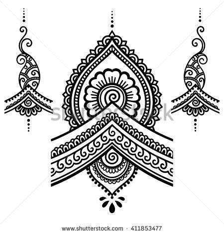 henna tattoo design templates henna flower template mehndi stock vector