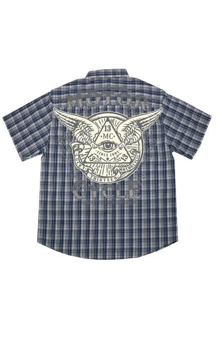 Id 1245 Studs Plaid Shirt eye cycle navy plaid sleeve button up shirt by lucky