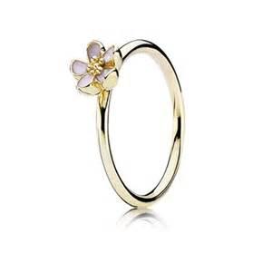 Birthday Gemstones And Flowers - cherry blossom pink enamel gold ring pandora