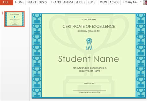 Certificate Of Excellence Template For Powerpoint Free Certificate Of Excellence Template