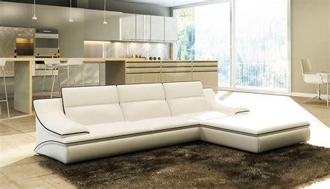 divani furniture divani casa 5076b white leather sectional sofa
