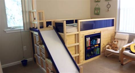 bed with slide ikea hack playful loft bed hides a playroom underneath