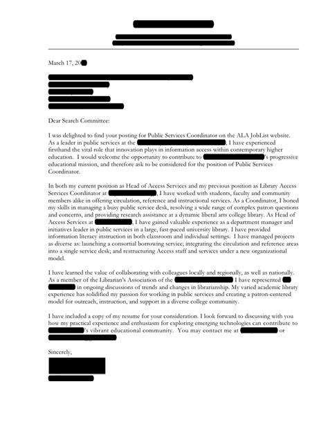 Public Services Coordinator Cover Letter Open Cover Letters