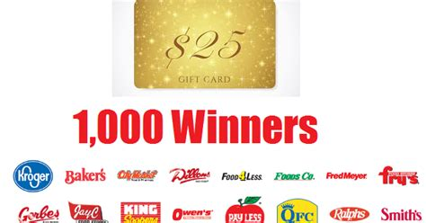 Kroger 1000 Gift Card Giveaway - kroger affiliates 25 gift card giveaway 1 000 winners 2 grand prize trips to
