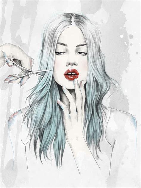 hair art esra roise illustration for magazine drawing