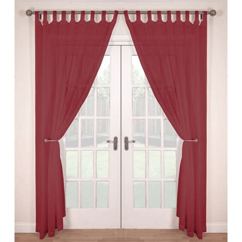 tab top red curtains tab top voile panels pair finished in red