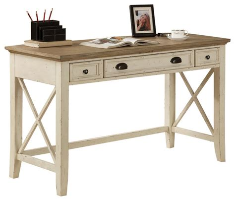 transitional desk riverside furniture coventry two tone writing desk in