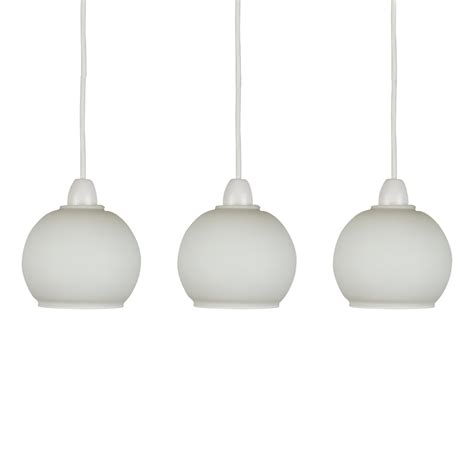 Set Of 3 Frosted White Glass Domed Ceiling Light Pendant Replacement Shades For Pendant Lights