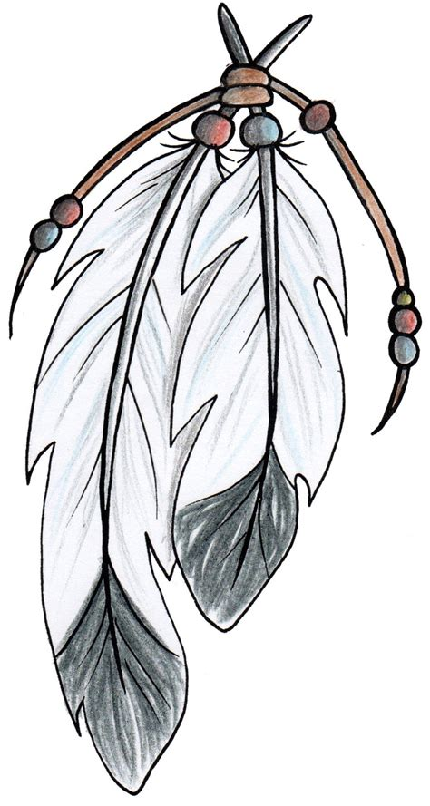 native american clipart feather pencil and in color