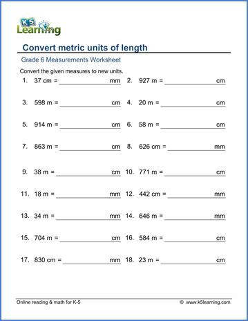 grade 6 math worksheet measurement convert metric