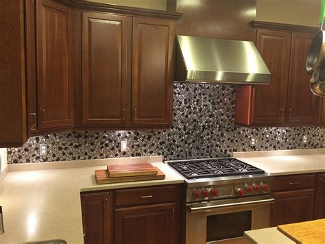 kitchen with stainless steel backsplash stainless steel backsplash metal mosaic tile