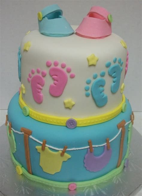 Footprint Baby Shower Cakes by Baby Footprints Cake Baby Shower Cakes