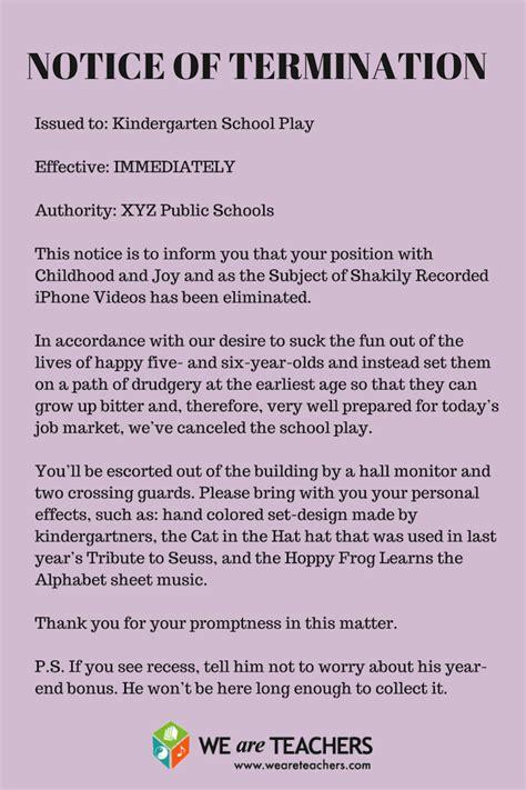kindergarten cancellation letter letter of termination the kindergarten play weareteachers