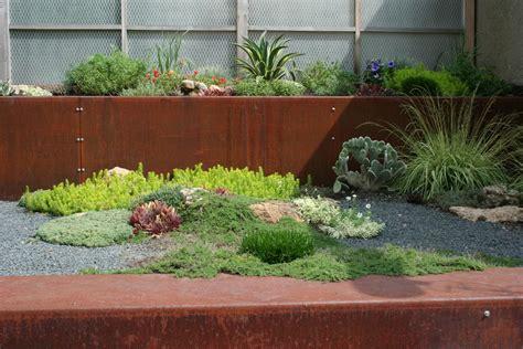 Metal Garden Ideas Sheet Metal Fence Landscape Industrial With Corten Gravel