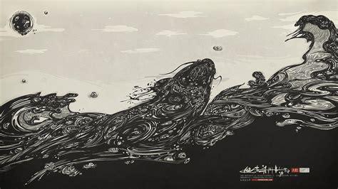 black and white koi wallpaper black and white china fish koi wallpaper 29411