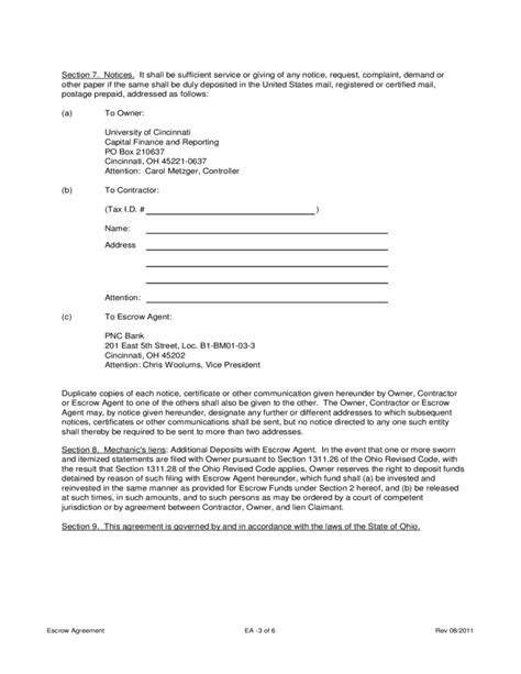 bank escrow account agreement escrow agreement of cincinnati free