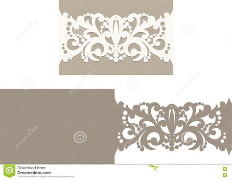 Laser Cut Envelope Template For Invitation Wedding Card Stock Vector Illustration 73943653 Laser Cut Wedding Invitations Templates