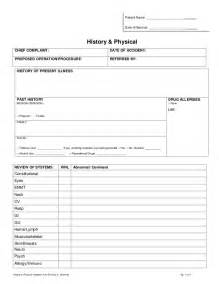 History Physical Template by History Physical Form Pdf